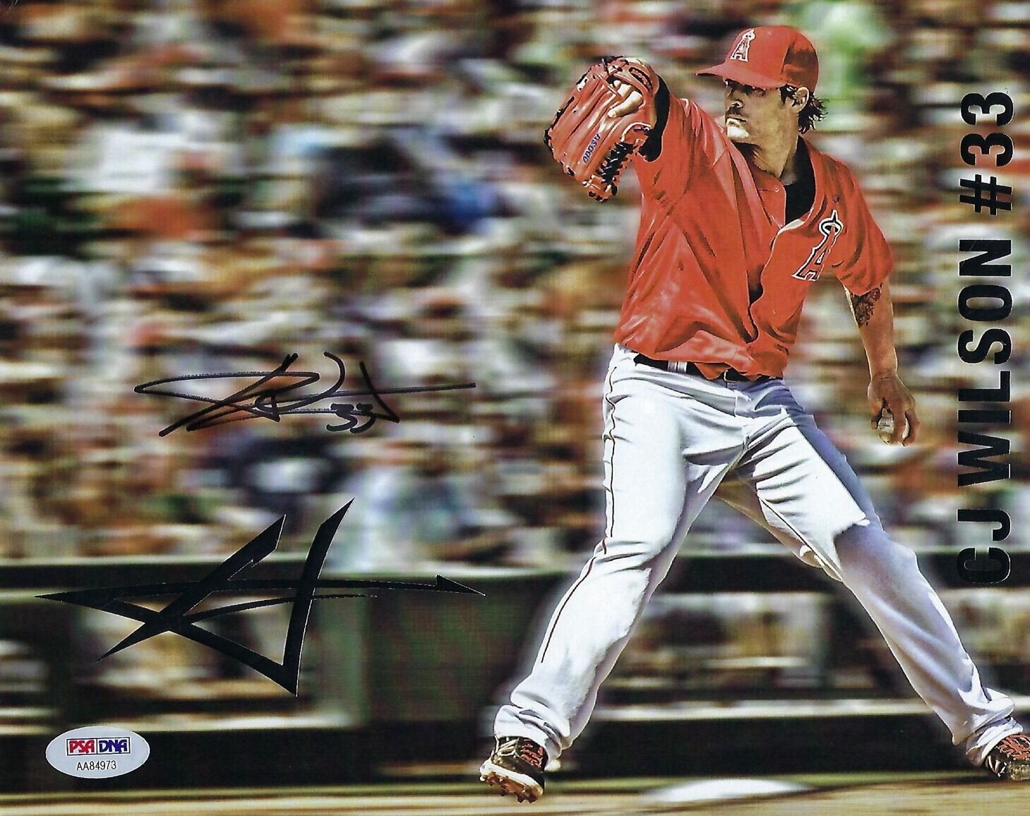 CJ Wilson Signed Angels Baseball 8x10 Photo PSA AA84973