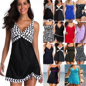 Womens Padded Swim Dress Boy Shorts Tankini Swimwear Holiday Swimsuit Plus Size