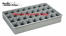 (4) LARGE PLASTIC INSERT 32 HOLE STORAGE TRAY FOR NUTS, BOLTS AND WASHERS