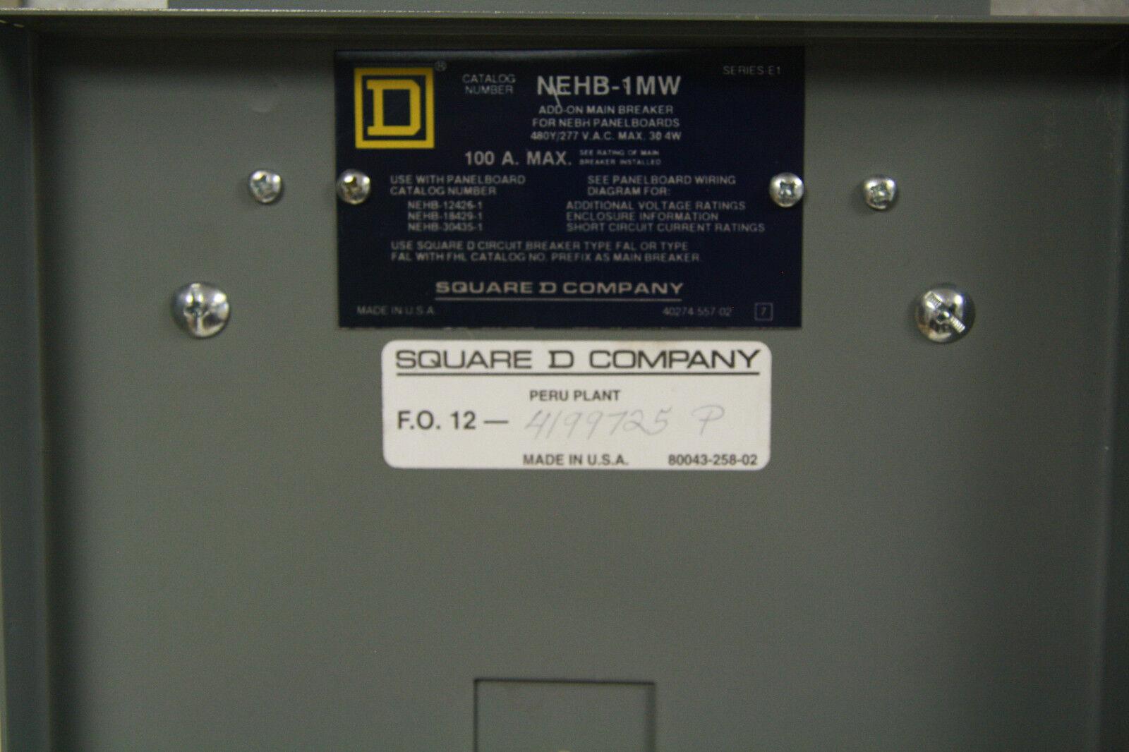 Square D Hehb Main Breaker Add On Kit Nehb1mw 100a Series E1 Ebay A Circuit