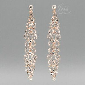 Details About Long Rose Gold Plated Clear Crystal Rhinestone Wedding Drop Dangle Earrings 4478