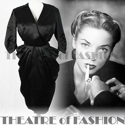 Bellissimo Abito Seta 40s 50s Vintage Wedding Couture 12 14 16 18 Guaina Peplum Noir Vamp-mostra Il Titolo Originale Alleviare I Reumatismi