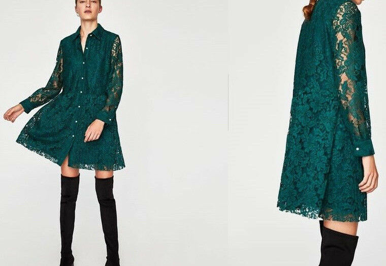 1089f53bf8af Zara Basic pizzo plissettata Perle verde Lace Pearls guipure Dress PLEATED  nnoucf6974-Vestiti