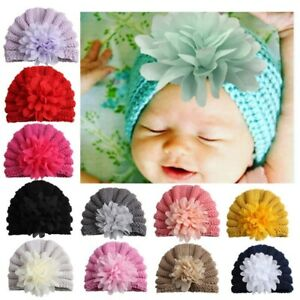 0-2Y-Baby-Chiffon-Flower-Hat-Beanie-Knitted-Turban-Infant-Photography-Props-Cap