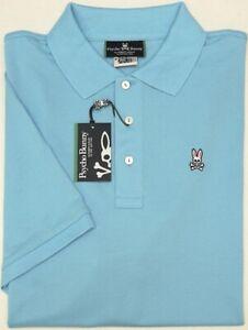 Orig-98-Psycho-Bunny-Short-Sleeve-Polo-Shirt-Mens-Blue-Pima-Cotton-Mesh-NEW