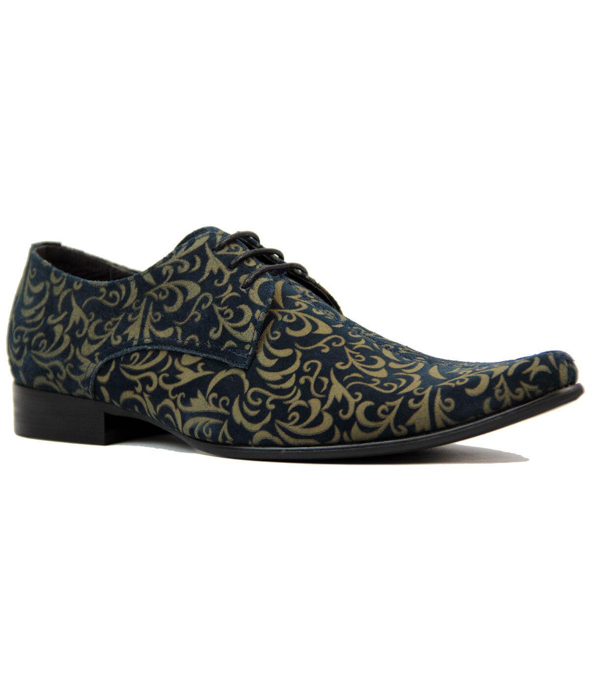 NUOVO Anni'60 MADCAP Mod Retro Mod Anni'60 NUOVO Paisley suede shoes Winklepickers 60s Jag Navy dccf3e