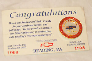 250th Anniversary Reading PA Bob Fisher Chevrolet Pinback Tie Tack Chevy 1998