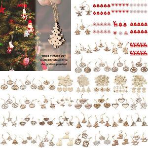 Buon-Natale-legno-naturale-da-appendere-ARREDAMENTO-ALBERO-NATALE-Ciondolo-ornamenti-Crafts