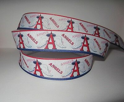 GROSGRAIN LOS ANGELES ANGELS BASEBALL RIBBON LOT FOR MAKING BOWS MLB 10 YDS 2B