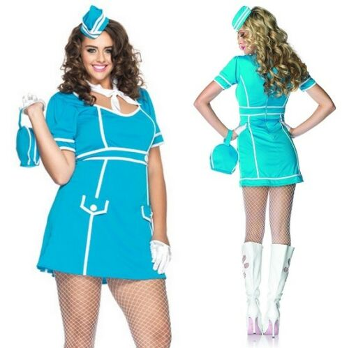 Air Hostess Stewardesses Leg Avenue 12-16 Retro Flight Attendant Costume