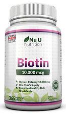 Biotina 10,000 Mcg fuerza máxima, 365 Tabletas apoya saludable cabello y uñas