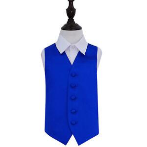 DQT-Satin-Plain-Solid-Royal-Blue-Page-Boys-Wedding-Waistcoat-2-14-Years