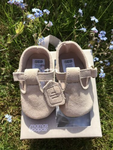 mamas and papas baby gift t-bar pram suede shoes beige sand RRP £16 3-6 M