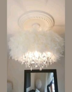 Image Is Loading Large Cream Glam Diva Feather Chandelier Droplet Ceiling