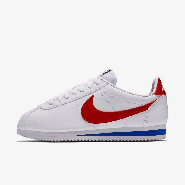 NIKE WMNS CLASSIC CORTEZ LEATHER FORREST GUMP 807471-103 WHITE VARSITY RED ROYAL