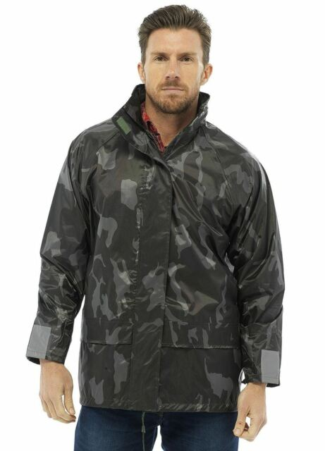 Mens New Army Camo Waterproof Hooded Lightweight PVC Outdoor Rain Jacket
