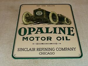 VINTAGE-SINCLAIR-OPALINE-MOTOR-OIL-W-RACE-CAR-12-034-PORCELAIN-METAL-GASOLINE-SIGN