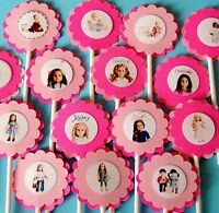 15 American Girl Cupcake Toppers Birthday Party Favors, Baby Shower Decoration