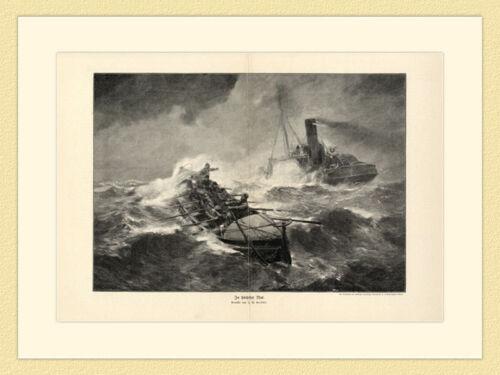Seeleute im Sturm in höchster Not Seenot Bernhard F Gribble Holzstich G 157