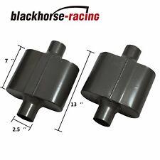 """Pair of Single Chamber Performance Race Muffler 2.5"""" Center / Center Black"""