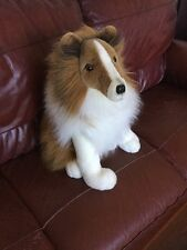 A & A Rough Collie Dog Plush Lassie Brown and White Life Size Life Like 22""