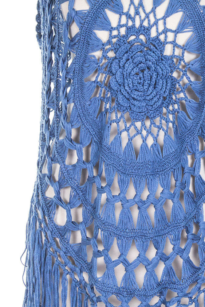ScarvesMe Women's Fashion Netted Netted Netted Crochet Cover Up Poncho with Fringe 032105