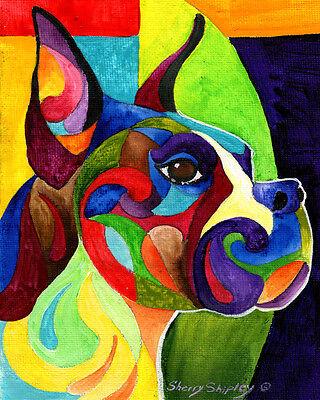 ENGLISH BLUE BULLDOG  8X10 DOG   print by Artist Sherry Shipley