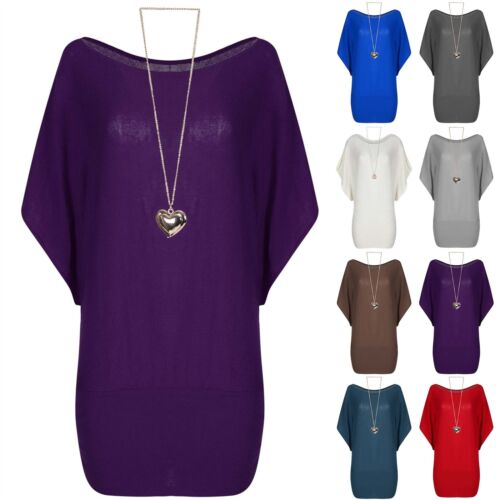Ladies Dipped Hem Knitted Batwing Oversized Womens Round Neck Baggy High Low Top