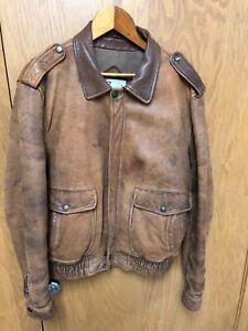 2c251d8e8 Details about Vintage Berman's Leather Bomber Jacket Brown Distressed Size  40 L