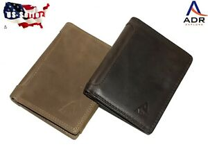 Men's leather wallet. Bi-fold, multi layer classic style. Rich, thick leather