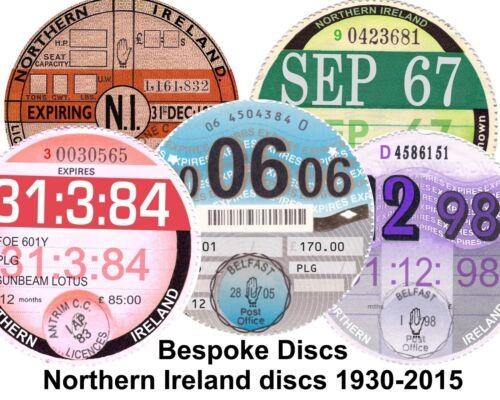 Replica Reproduction Northern Ireland Road Tax Disc 1930-2015 Bespoke Irish