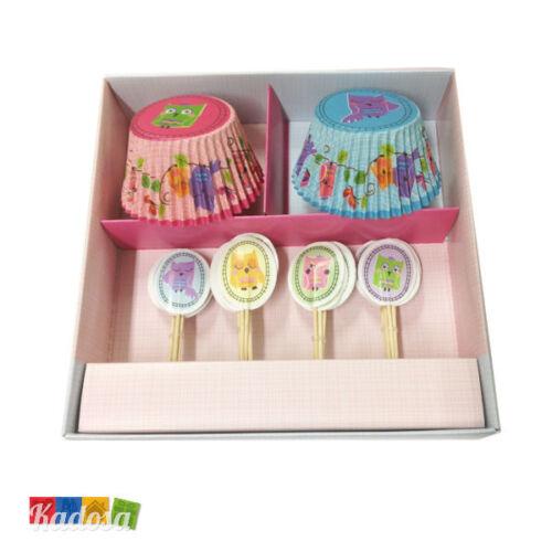 Set 24 Pirottini Cupcake GUFI Topper Abbinato in Scatola Regalo Muffin Cupcakes