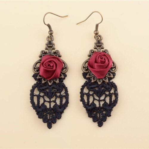 1 Pair Handmade Red Flower Rose Black Drop Lace Dangle Gothic Alloy Earrings