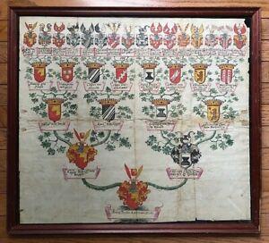 ORIGINAL-ILLUMINATED-HERALDRY-COAT-of-ARMS-GERMAN-NOBLE-FAMILY-MANUSCRIPT-c1678