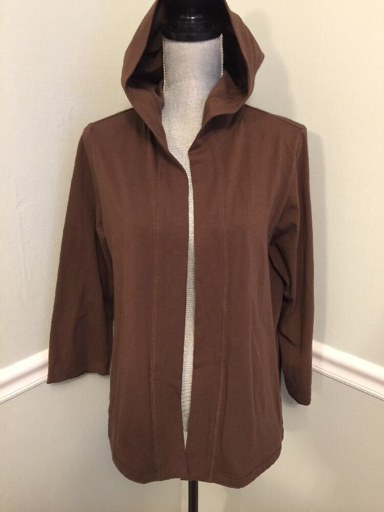 Eileen Fisher Brown Hooded Open Front Organic Cotton Cardigan Sweater Large EUC