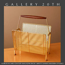 FAB! VTG ATOMIC TEAK & BRASS MID CENTURY MAGAZINE RACK! 1950s Interior Design