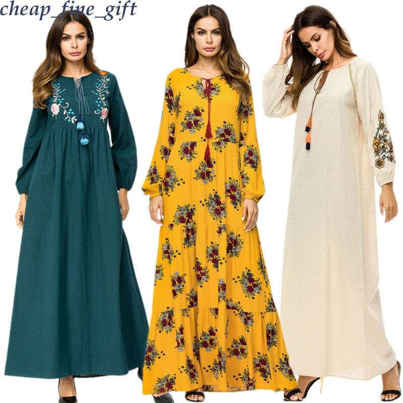 Boho Floral Cotton Linen Dress Vintage Ethnic Women Beach Sundress Muslim Abaya
