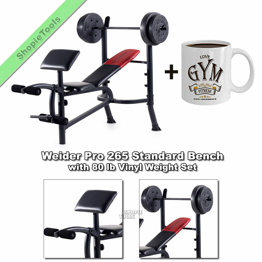 Weider Pro 265 Bench 80 Lb Weights Adjustable Lifting Workout Exercise Mug Ebay