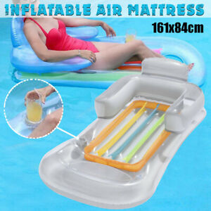 UK Inflatable Floating Water Hammock Float Pool Lounge Bed Swimming Chair Beach