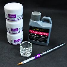 Portable Nail Art Tool Kit Set Crystal Powder Acrylic Liquid Dappen Dish LA