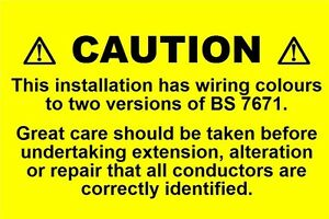 mini electrical caution harmonised labels mixed wiring 76 x 51mm rh ebay co uk Data Cable Labels Data Cable Labels