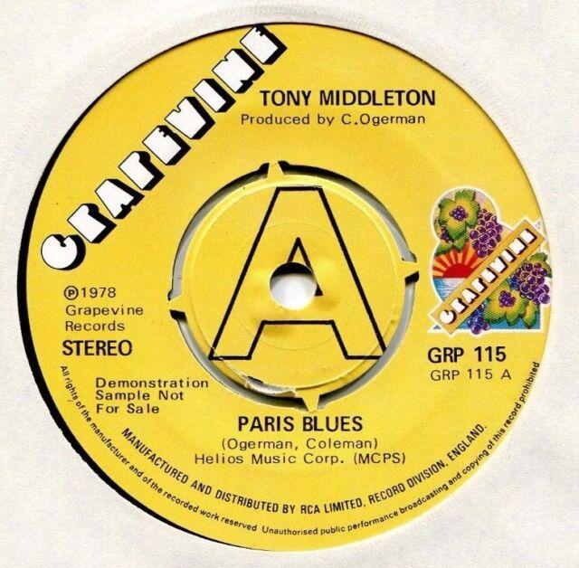 Tony Middleton   **   Paris Blues  **    U K    GRAPEVINE DEMO  -  GRP  115