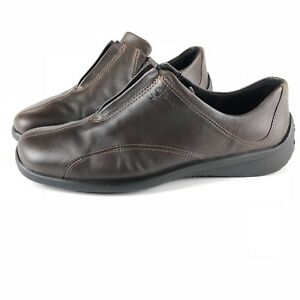 Details about Ecco Womens Brown Leather Top Zipper Driving Loafer Shoes US 9 UK 7