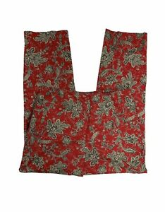 Talbots-Women-s-Size-10-Flat-Front-Red-Floral-Pants