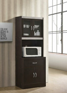 Details About Black Wood Tall Microwave Cart Kitchen Storage Cabinet Cupboard Pantry Organizer