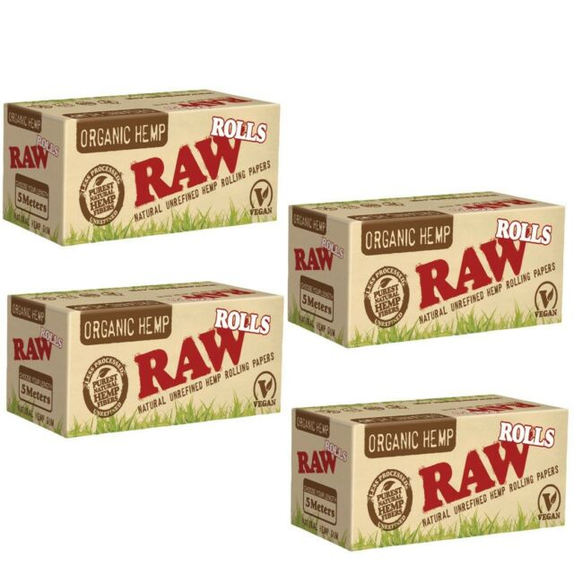4X Rolls of RAW ORGANIC HEMP Rolling Papers EACH ROLL is 5 METERS in LENGTH