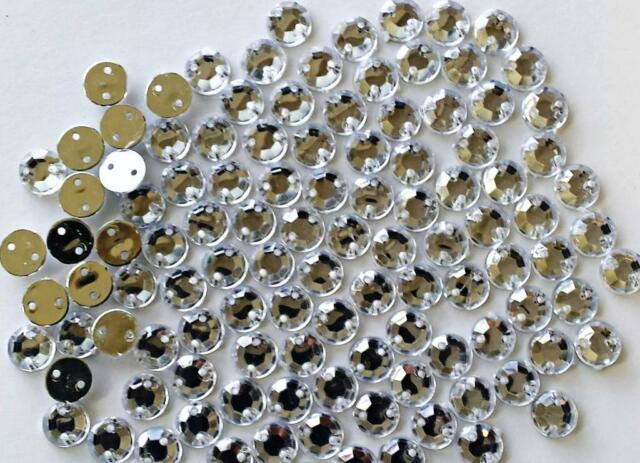200 ! Clear Rhinestones to SEW on - 6 mm mirror backed Gems with holes