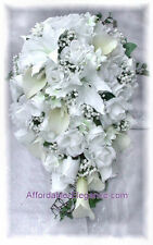 White FULL WEDDING SET Roses Calla Lilies Silk Wedding Flowers Bouquet NEW!