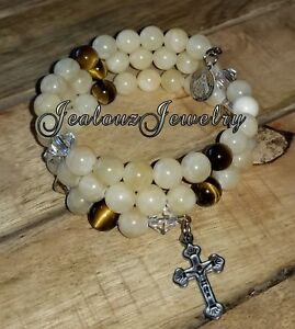 Image Is Loading Stainless Steel Protection Jade Tiger Eye 8mm Gemstone