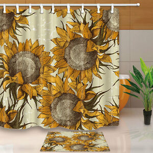 Image Is Loading Seamless Ornament With Sunflowers Shower Curtain Bathroom Decor